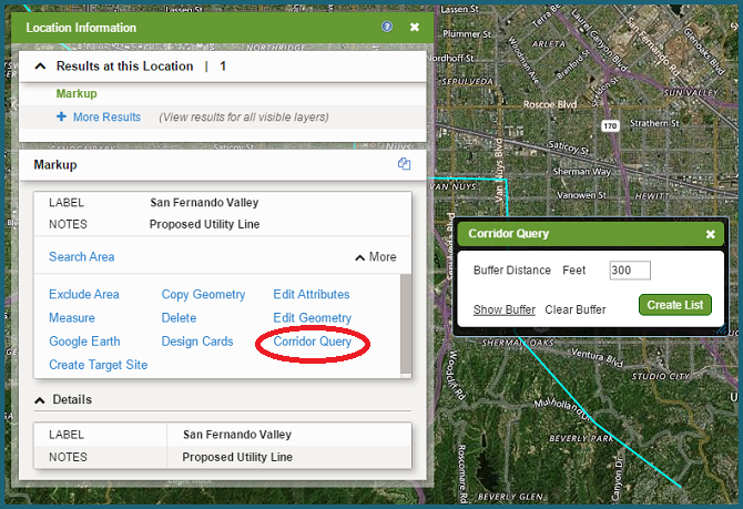 Corridor Query | LandVision Documentation